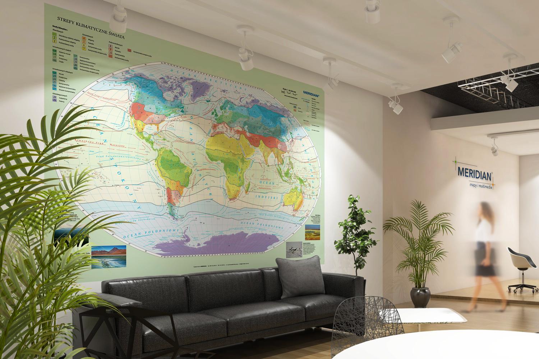 Mapa Świat Strefy klimatyczne Biuro sofa 1500x1000px