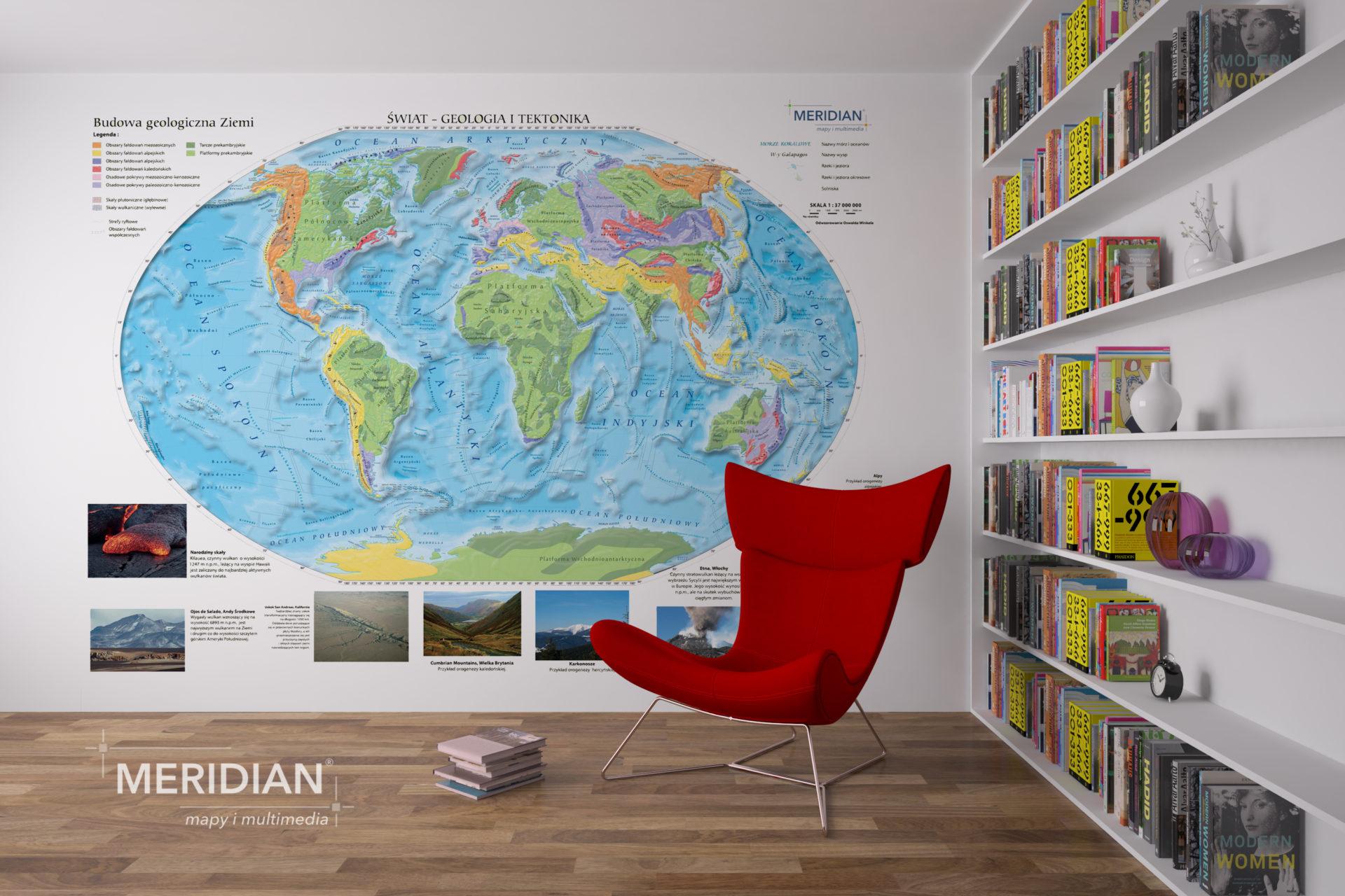 Mapa Świat fizyczny Home logo 3000px
